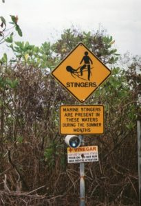 Irukandji Warning Sign on Cairns Beach
