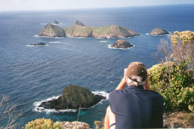 Pilchard looks ovethe Admiralty Islands from Malabar Hill.  Ned's Beach to the right! Lord Howe Island, NSW