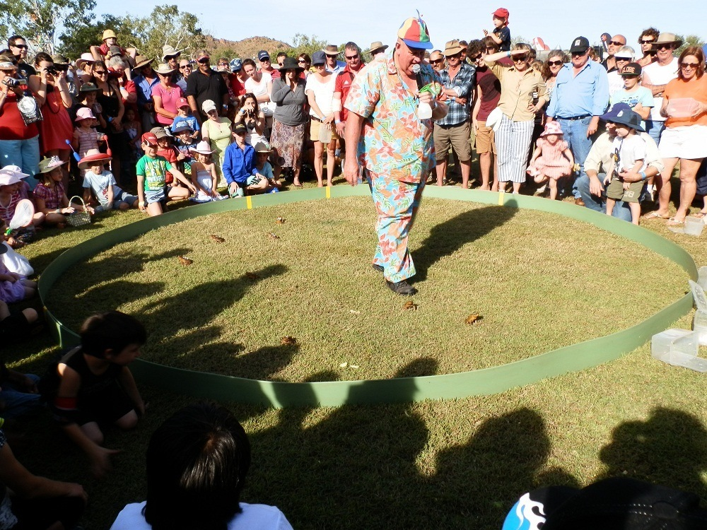 Thommo 'adjudicating' the Cane Toad Race, Kununurra, Western Australia