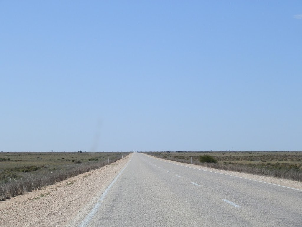 The Nullarbor Plain through the windscreen, South Australia