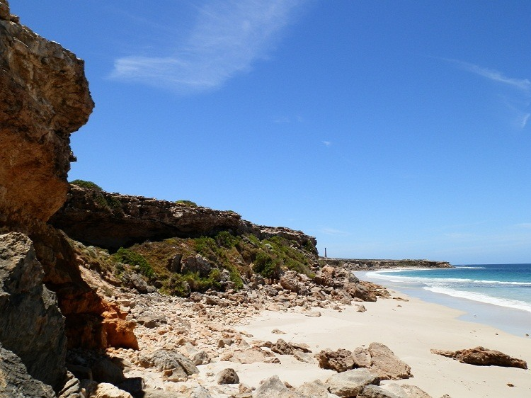 Looking down Swimmers Beach to Troubridge Point Lighthouse, Yorke Peninsula, South Australia