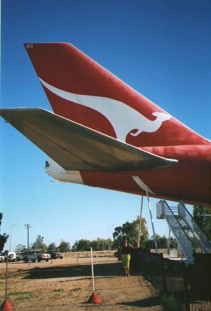 The QANTAS logo, Plane in the Paddock