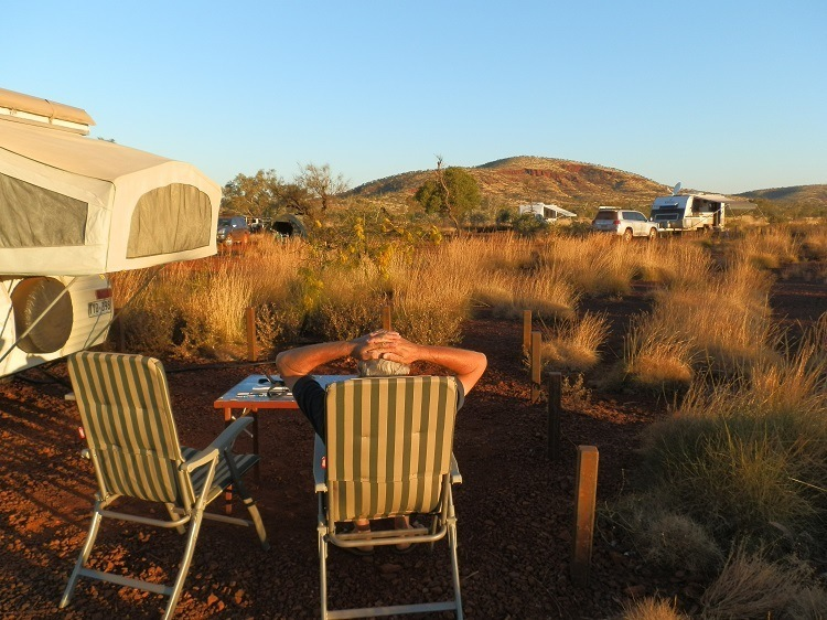 The Ultimate All-Australian Travelling Cafe sets up at Dales Gorge Campground, Karijini National Park, Western Australia