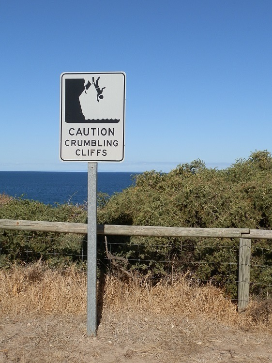 Clifftop sign, Wool Bay