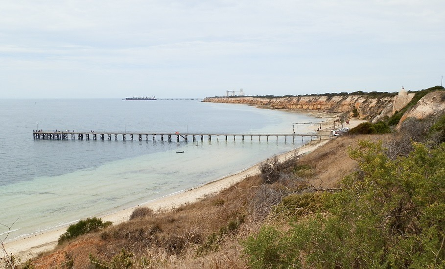 The Conveniences Context:  Wool Bay Jetty, Loos and Limestone Kiln with Pt Giles Jetty in the background