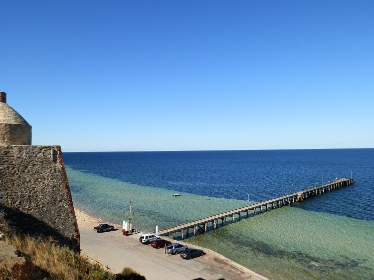 Wool Bay Jetty (and public loos) from old Limestone Kiln, Yorke Peninsula, South Australia