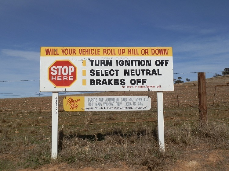 Magnetic Hill Sign, via Orroroo, South Australia