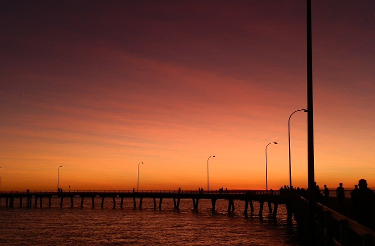 Sunset, Street Lamps and King Sound, Derby, Western Australia