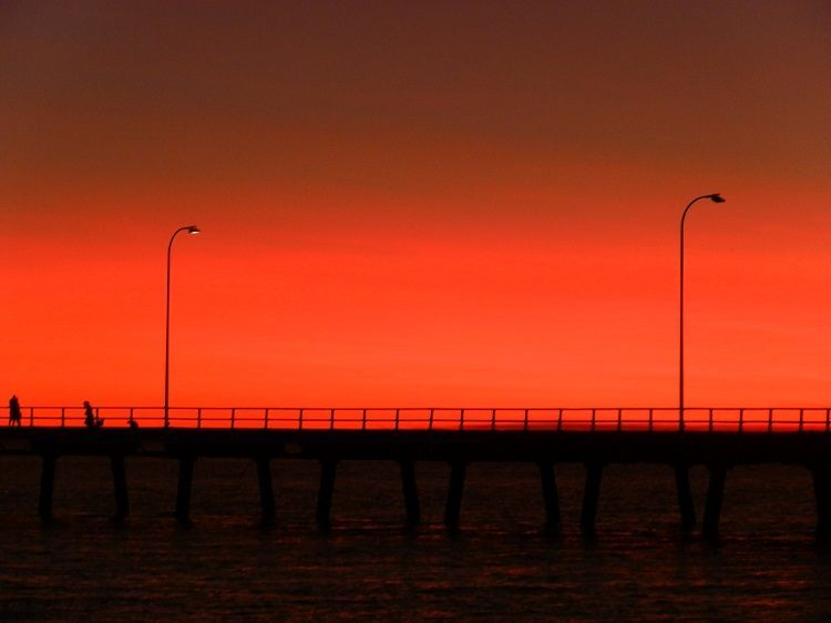 Street Lamps ON at Derby Jetty, Western Australia