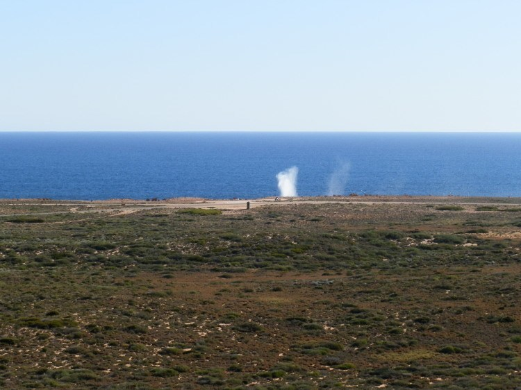 View of the Loo (that black speck!) from the Lighthouse against the Quobba Blowholes, Western Australia