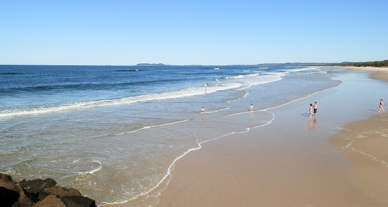 Surf Beach with Cape Byron - Australia's easternmost point - in the background, Brunswick Heads, New South Wales