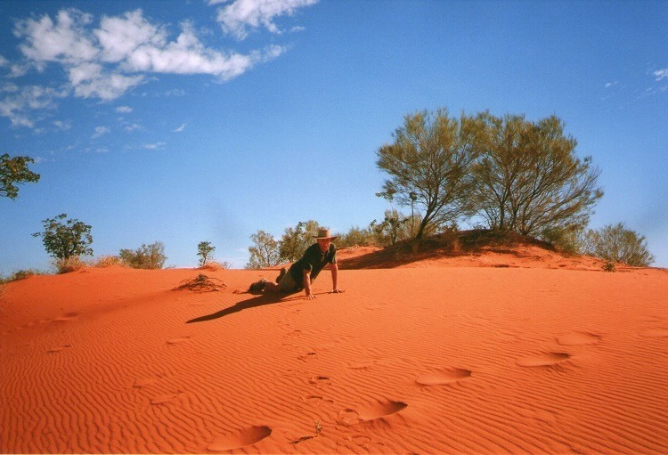 Doing a Perish (see below) on the Windorah Sand Dunes, QLD