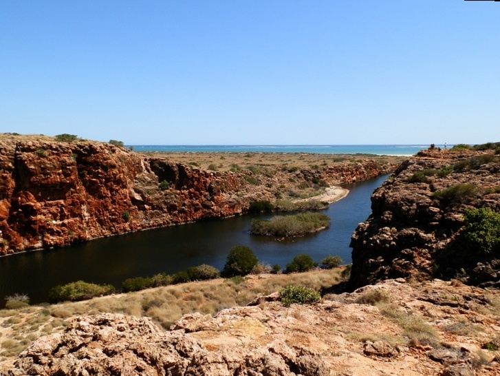 Looking from Yardie Creek Gorge, Cape Range National Park offshore to Ningaloo Marine Park