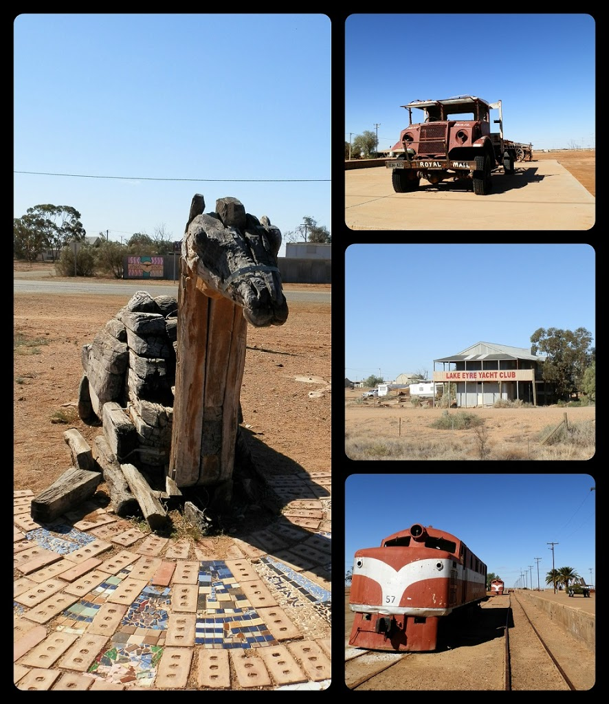 Clockwise from Left:  Afghan Cameleers Monument; Tom Kruse's Mail Truck; Lake Eyre Yacht Club; Railway Memorabilia from the Ghan at the Marree Railway Station