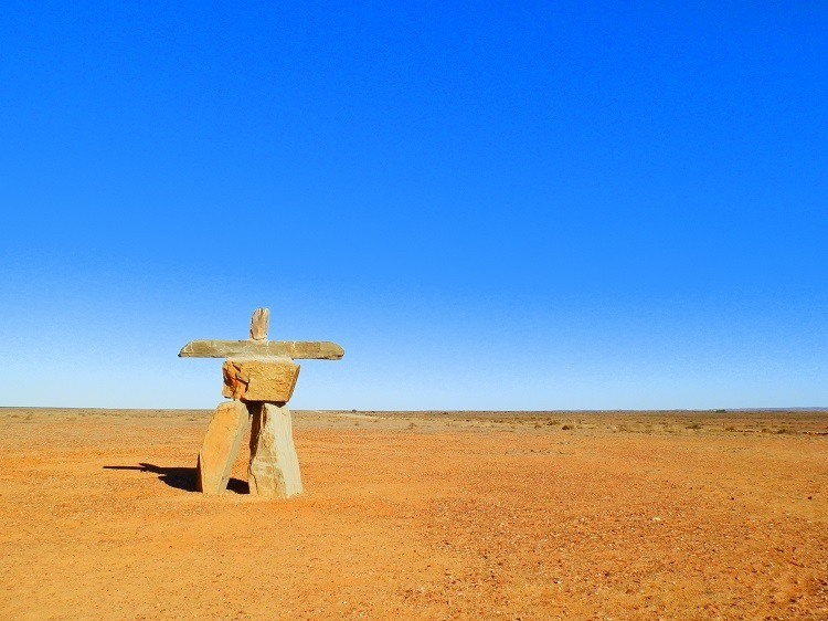 Not-the-real Marree Man on the outskirts of Marree, South Australia