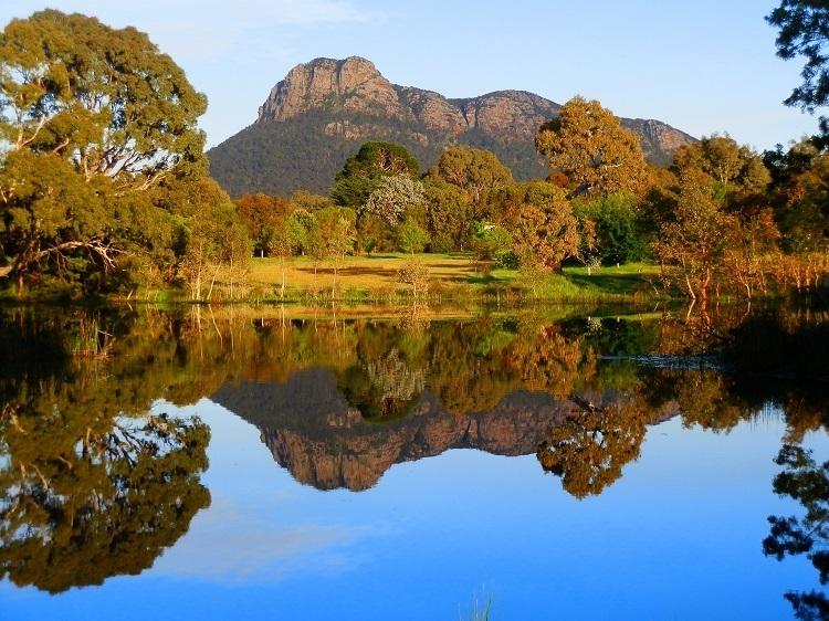 Mt Sturgeon from Dunkeld Arboretum Lake, Grampians, Victoria