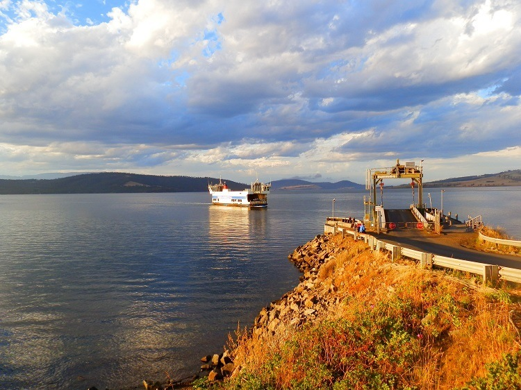Mirambeena Ferry arriving at Bruny Island, Tasmania