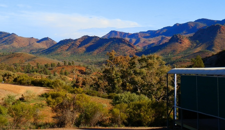 Angorichina Village Campground Loo against a Flinders Ranges Backdrop