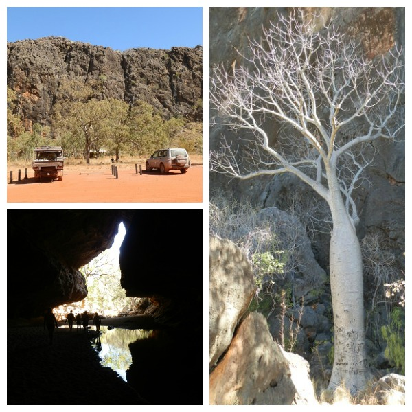 Tunnel Creek (lower left) with Boab Tree (right) and Carpark Loo (top), Gibb River Road, Kimberley