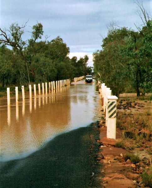 Bulloo River in Flood at the entrance to Thargomindah, Outback Queensland