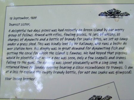 Historic Letter from Green Island's Interpretive Signs
