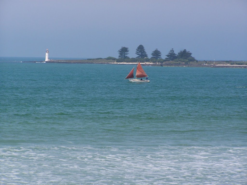 Griffiths Island lighthouse from Port Fairy foreshore, Victoria, Australia