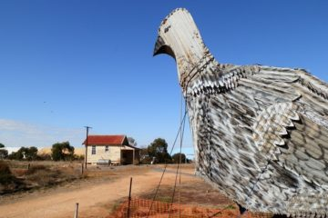 The Big Malleefowl overlooking the Patchewollock Railway Station, Victoria