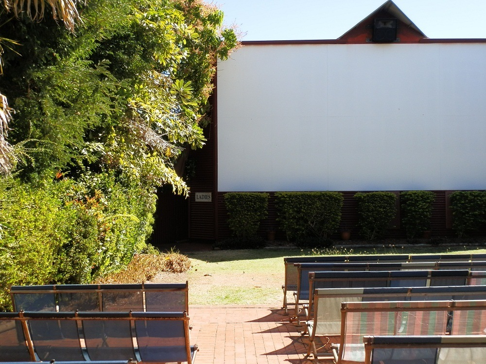 Sun Pictures Screen (with Ladies to the left) by Day
