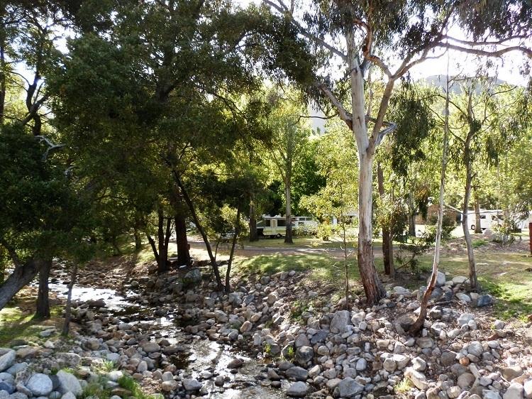 Halls Gap Caravan Park Campground from Stony Creek