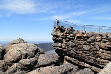 The Pinnacle Lookout with Lake Bellfield below, Grampians National Park, Victoria