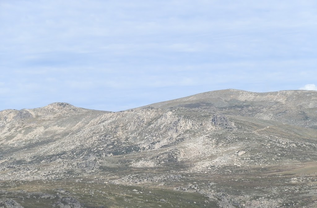 Mt Kosciuszko (highest point at right with people at summit), Snowy Mountains, New South Wales