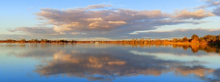 Late Afternoon from the Bushman's Rest Caravan Park at Lake Cullulleraine, Victoria