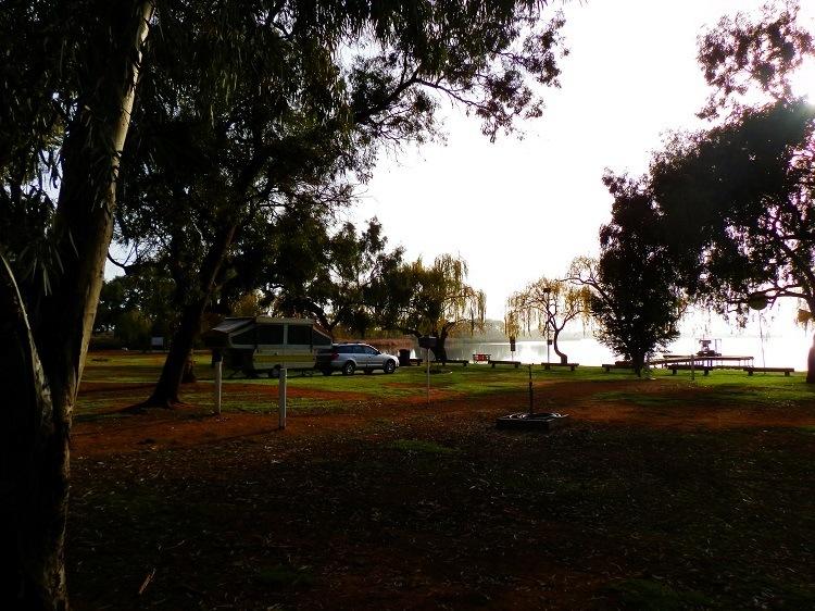 Misty Morning at Bushman's Rest Caravan Park, Lake Cullulleraine
