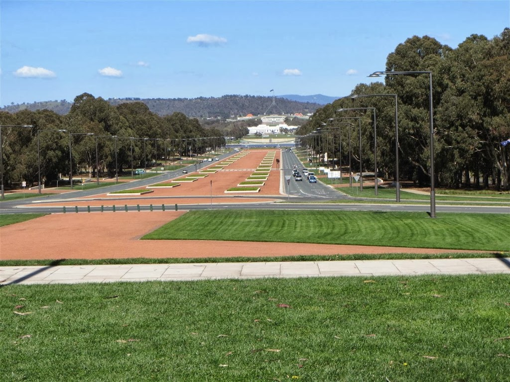 New and Old Parliament Houses from Anzac Parade, Canberra
