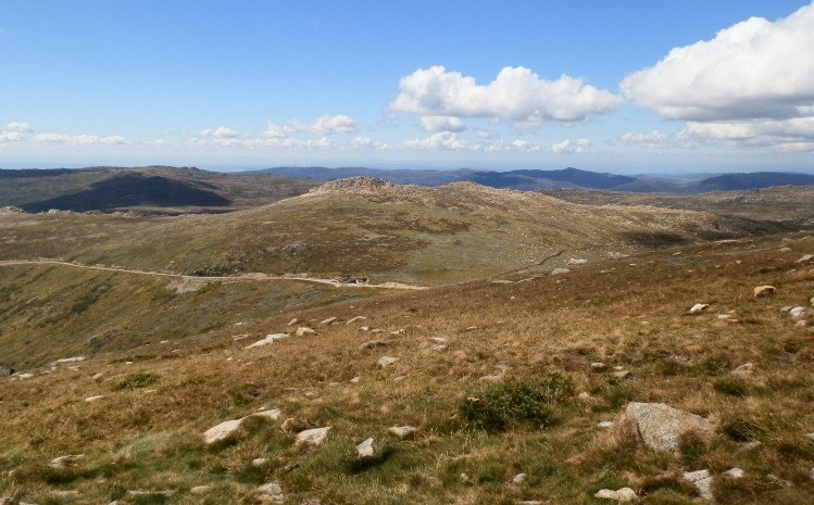 View of HIGHEST Loo in OZ at Rawsons Pass from Mt Kosciuszko Summit, Snowy Mountains, NSW