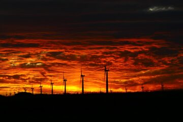 Sunset behind Wattle Point Wind Farm, Yorke Peninsula, South Australia