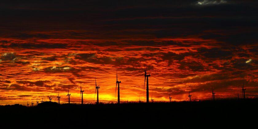 Sunset behind Wattle Point Wind Farm, Yorke Peninsula, South Australia