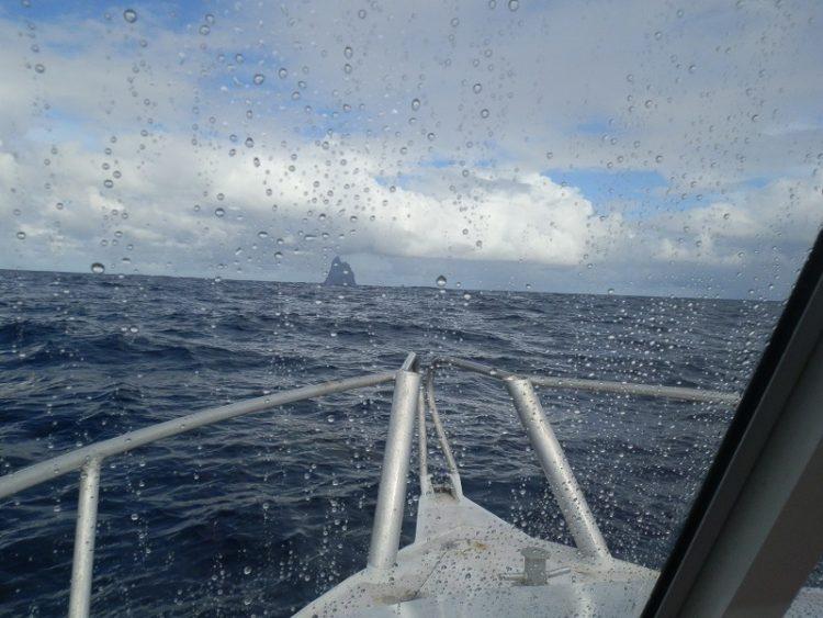 Balls Pyramid through the Sea Spray