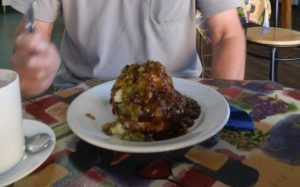 Good Tucker! An Aussie Meat Pie with Mashed Potato, Peas and Gravy